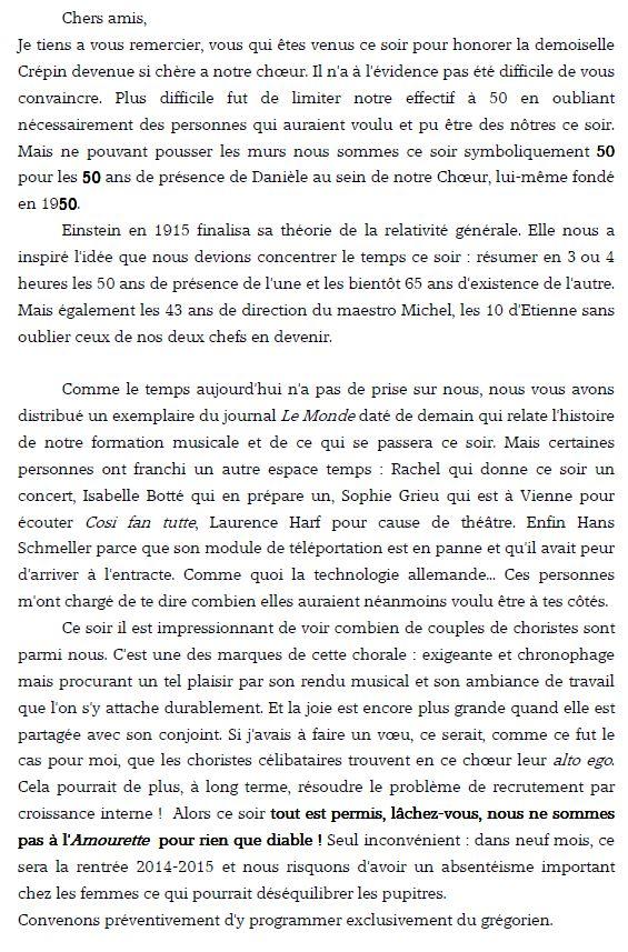 Discours pour la fete du 13 decembre 2013